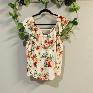 Lily White cream floral top size XL